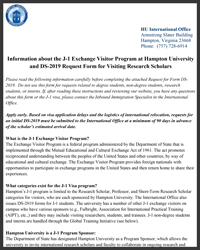 J-1 Visa Information Sheet