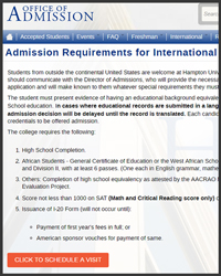 Undergraduate Admission Application for International Students