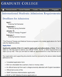 Graduate Admission Application for International Students