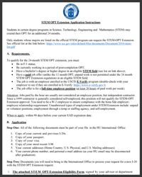 STEM OPT Extension Request Packet