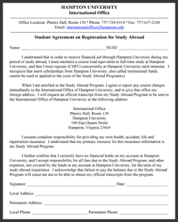 Student Agreement on Registration